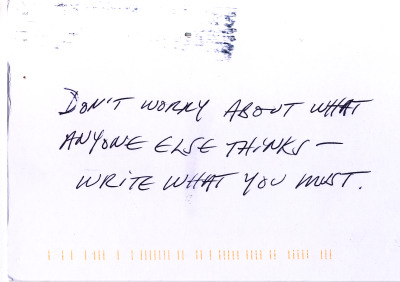 Postcard of advice from Carl Phillips