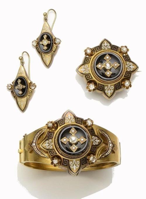 onyx parure Victorian estate jewelry antique jewelry