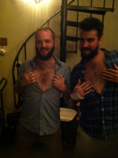 beardemic:  Showing off the manliness  because i know some of you out there enjoy hairy chest, this one is for you.