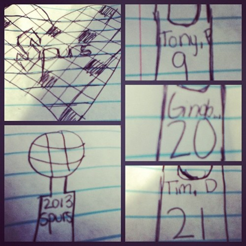 My #niece Alexa sent me these drawings she did for my dad. ❤🏀GO #SPURS GO!!! #nba #nbaplayoffs #game6