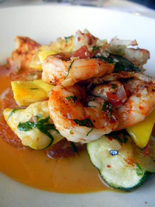 Seared Louisiana Shrimp with squash and chili oil from Herbsaint