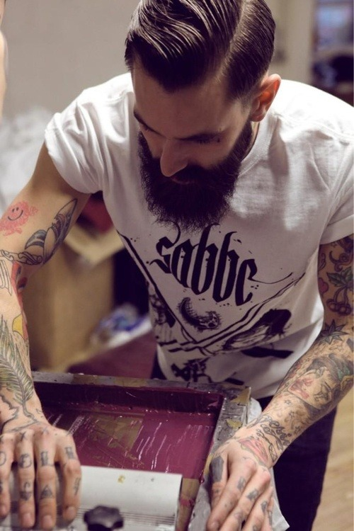 maninpink:  Tattoo + Beard | If you know where to buy this cloth or any other alike please leave the comment in my blog. Thx. Terry