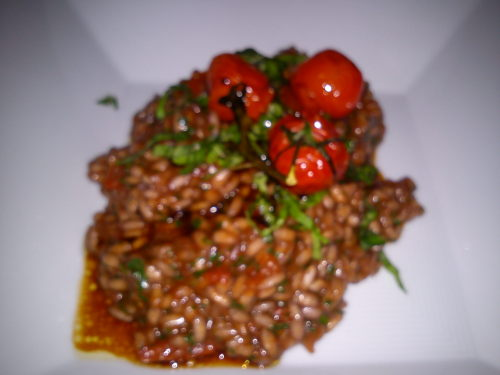poor pic, but tomato & balsamic risotto made by my dad