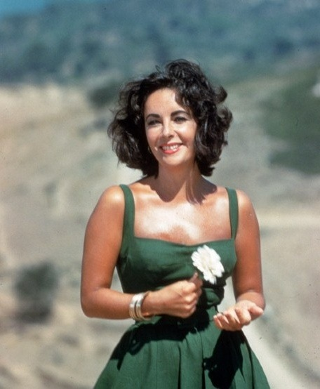 theniftyfifties:  Elizabeth Taylor on the set of 'Suddenly Last Summer', 1959.  I want this dress. ;c