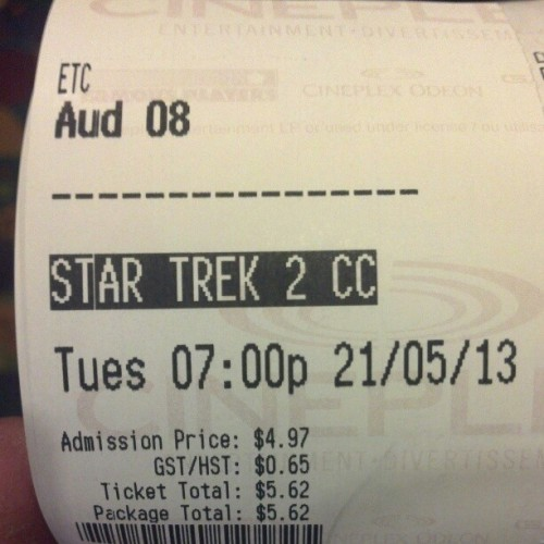 Yup, checking out #StarTrekIntoDarkness once again. Just regular 2D this time around. #film #movie #movienight #StarTrek