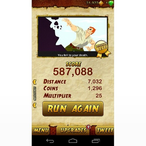 Spent my lunch break playing this… #addicting #TempleRun2 #TempleRun #Crack