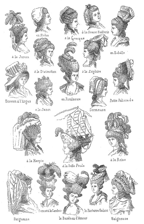 artschoolglasses:  A page of 18th Century hairstyles  I will never, ever get tired of looking at the (absurd) hair fashions of the 18th century.