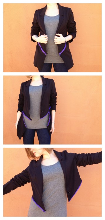 DIY Burberry Prorsum Inspired Colorful Zipper Blazer Tutorial from Plan B Anna Evers here. Really easy and clear tutorial for this restyle. For 3 more zipper jacket tutorials go here: truebluemeandyou.tumblr.com/tagged/zipper-jacket