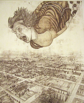 Gabriel Clark-Brown. Angel above Piet Retief, 2000. Etching, 590 x 642 mm.     Via