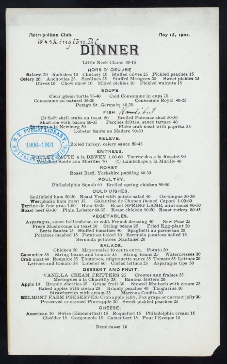 "hipsterlibertarian:  Above is a menu from the Metropolitan Club, a fancy private club in DC, from 1901. I was invited to an event there this week, and stumbled across this menu while researching the venue. At first I was shocked at how high the prices were — even by modern standards, $20 is ridiculous for a celery appetizer. Then I realized: These prices are in cents, and the most expensive things on this fine dining menu cost all of $1. 60¢ for lobster salad. 20¢ for spaghetti. 40¢ for brandy peaches. This is inflation writ in asparagus and meringues.  The extreme differences between the prices on this menu and the prices we'd pay today (between 10 and 40 times the 1901 prices — e.g. $8 for a dessert rather than 25¢), is due to a century-long trend of the Dollar's decline into near-worthlessness. [Rest of the post at hipsterlibertarian, but she ends with "" inflation robs the poor to help the rich afford the lobster salad whose time of costing 60¢ grows more distant by the day.""  I looked up the average hourly wage for a manufacturing worker in 1901. It was 23 cents, according to the Bureau of Labor statistics. The average wage for manufacturing workers in 2012 was $19.20. That means someone living in 1901 had to work 3 hours for that lobster salad. Today's worker would have to put in one hour to afford an equivalent meal. Basically, the poor chump in 1901 would have to slave away the whole day just so he can afford the things I can purchase with the work-time I spend browsing Tumblr."