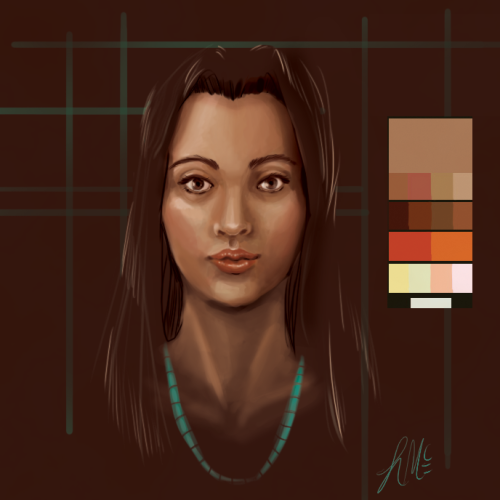 This was just supposed be a quick skin color study but I can't stop fiddling with it.  This is the palette used.