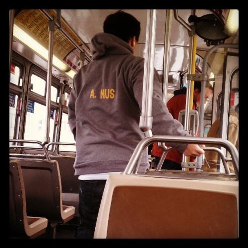 I saw this guy on the bus. Yes, his name is A. Nus. #Muni
