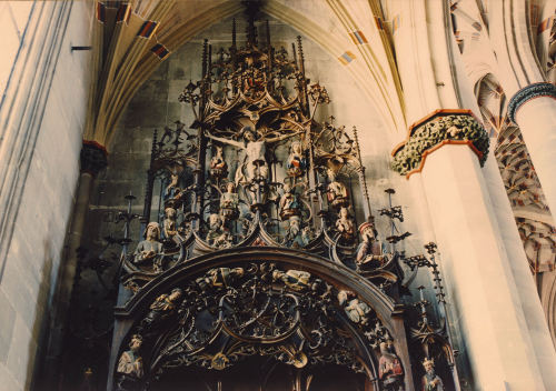 "Detail of a ""Sippenaltar""; Holy Cross Cathedral, Schwabisch Gmund, Baden-Wurttemburg, Germany"