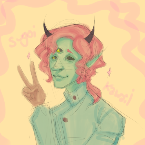 locohen:  sugoi ironic peace sign doodle  he wants you on his operating table