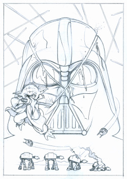 "Sketch for a upcoming Star Wars themed tribute show at Gallery Nucleus….""Yoda Slice"".  Show opens May 4th.  Prints will be available!"