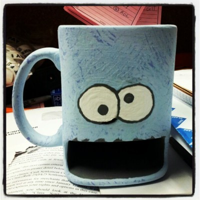 nataliecandelaria:  Soon #cookiemonster #mug #ceramics #cookie