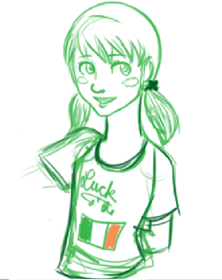 "i refuse to finish anything ever but here's lucky~ smiles totes got her that shirt (it says ""Luck o' the"" over the flag of Ireland in case you can't read my shitty handwriting) and he probably has one that says ""kiss me, i'm irish!"" which he will not stop pointing to and waggling his eyebrows and lucky is just like ""no :T"" and at the end of the night she gives him a peck on the cheek and insists it's just to thank him for the shirt. or something idk"