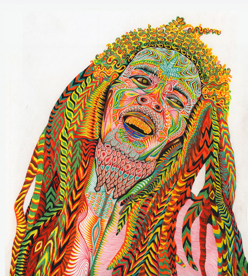 """Marley"" (Ink markers on paper, 9"" x 10""), 2013. Bob Marley Portrait.""One good thing about music, when it hits you, you feel no pain."" - BM."