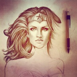 Slowly but surely. #drawing #illustration #wonderwoman #art #artinprogress #comics #filter #woman