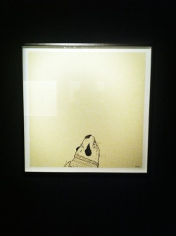 Keaton Henson | Hithermost  Keaton Henson's exhibitions are always must see events and the new Keaton Henson exhibition Hithermost at the Pertwee Anderson & Gold Gallery in Soho did not disappoint. I've been a big fan of Henson,K and his work for many years now. He's an extremely talented artist and manages to impress and inspire me. From his extremely soulful and brutally raw music to his illustrations which are haunting. Hithermost didn't fail with Henson,K heart wrenching poems mixed with his dark but yet innocent illustrations. His use of odd stoned shaped ceramics which he brings to life with his simple use of paint. Here are a couple of pictures I managed to snap today at the exhibition. Catch Keaton Henson performing at museums around the country this month.