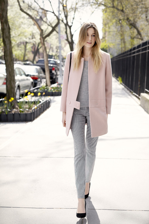 camilleovertherainbow:  My social lookbook shoot with clubmonaco-pressroom:  September - Look 9 Simone Coat, Mira Cashmere Shell, Carolina Skinny Pant, Wishbone Layering Necklace, Freja Cross-Body Bag, April Pump