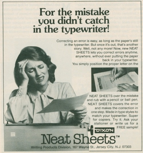heck-yeah-old-tech:  Actually, putting the paper back into the typewriter is much faster and easier than this.  'Neat Sheets' by Dixon, the pencil manufacturer, 1981.
