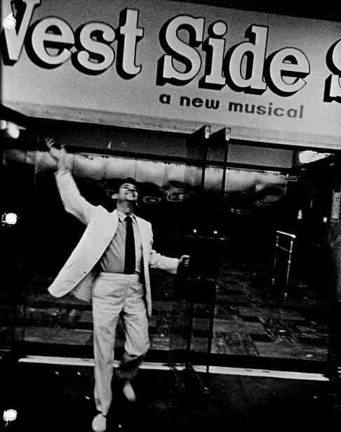 "j-prouvaires:  Leonard Bernstein under the marquee for ""West Side Story"" after the show's opening at the National Theatre in Washington, D.C., 1957"