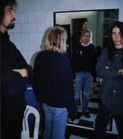 phineas4cobain:  kurt's expression here…..looking at his reflection….just says it all. dislike…..dislike….