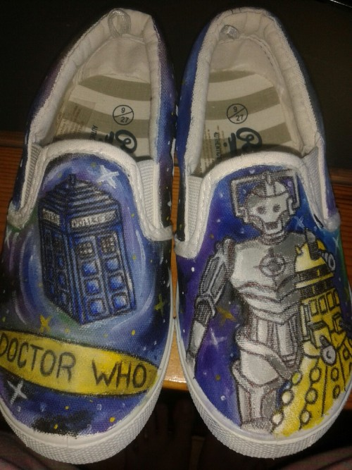 sarahbutton23:   Shoes I painted for my nephew for his 4th birthday.. :)