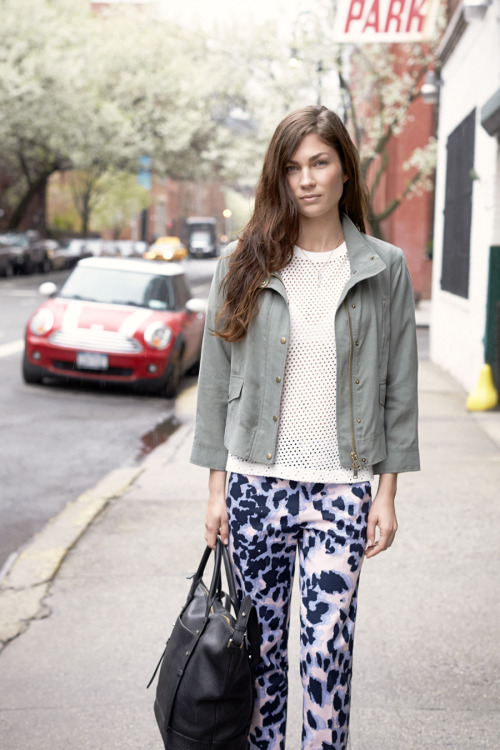 clubmonaco-pressroom:  July - Look 2 Susie Parka, Alva Eyelet Top, Ali Crop Pant, Angel Wings Layering Necklace, Mackage Raffie Satchel  I had the pleasure of meeting Bekah when she was in town for the shoot and she's as beautiful on the inside as she is on the outside. You look gorgeous Bekah!