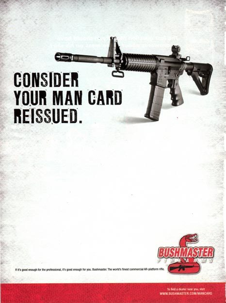 jessicavalenti:  This is an advertisement for the gun Adam Lanza used to murder 20 children and 6 adults. We need to talk about gun control and mental health - but we also desperately need a conversation about American masculinity.  For more on masculinity and mass shootings, this 1999 article from Jackson Katz and Sut Jhally is a must-read.