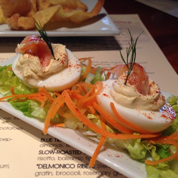 Deviled eggs with smoked salmon and dill.  (at Soyka's Restaurant)