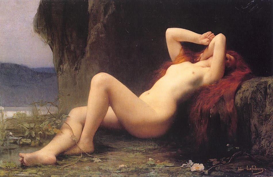 pre-raphaelisme:  Mary Magdalene in the Grotto by Jules Joseph Lefebvre, 1876.