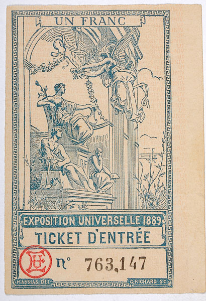 moodboardnyc:  Ticket to the Exposition Universelle, 1889