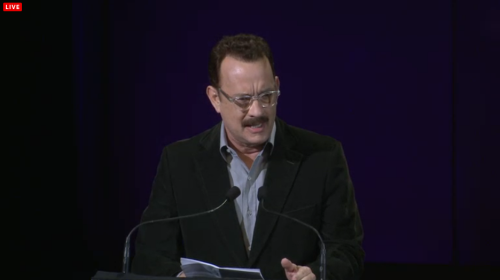 Oh hey Tom Hanks. He's talking about Nora Ephron right now.