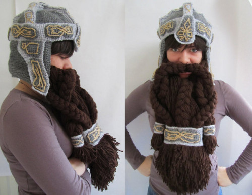 "I'm seriously so impressed…  SadDaysCrochet created this awesome Dwarven Helm as a present for her brother. ""The helm I based directly on the helm that Gimli wears in the Lord of the Rings movies, the beard was my own design with massive creative input from my brother. Helm has a lovely fleece interior and beard attaches and detaches with large snaps. The rest is mithril."" [via Obvious Winner]"