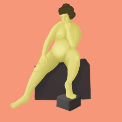 Worked more on that sitting lady. Pushed the values a bit. Her chest is a bit narrow and her face isn't the best, but I figure it's time to move on.