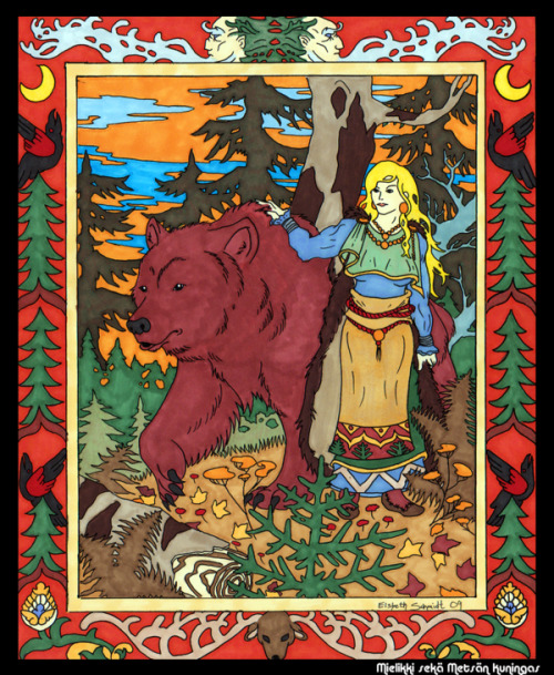 itmovesmemorelol:  Mielikki is the Finnish goddess of forests and the hunt. In a country where the forest was central to providing food through hunting, gathering and cattle grazing, it was thought very important to stay on her good side. She is also offered prayers by those who hunt small game and those who gather mushrooms and berries. Mielikki is known as a skillful healer who heals the paws of animals who have escaped traps, helps chicks that have fallen from their nests and treats the wounds of wood grouses after their mating displays. She knows well the healing herbs and will also help humans if they know well enough to ask her for it. Her name is derived from the old Finnish word mielu which means luck. (picture source: http://dragoninthemist.deviantart.com/art/Mielikki-113191971) Source: Beauty & Heritage The Dance at Alder Cove /|\ ☽✪☾Youth/Father/Geezer☽✪☾ \|/ Customs of the Ancestor