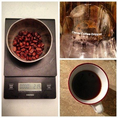 ".1 - Still ""playing"" with this luvly #coffee from #PapuaNewGuinea that we're going to release soon on GrimpeurBros.com! Think: Bold, Sweet, Malt, Chocolate…#AWESOME cup of #coffeedoping - Stay tuned for this special one…#specialtycoffee #grimpeur #CleverDripper #Hario #cycling #rideyourbike #drinkgreatcoffee #bikenyc #bikeatx via @frametastic"