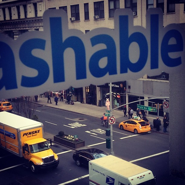 "Let's play ""spot the bunny"" #mashablewindow  (at Mashable HQ)"