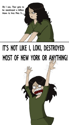 mischieftress:  Diva Loki I was amused by the amounts of mentions of Thor in the new Iron Man movie, I thought this would be appropiate.