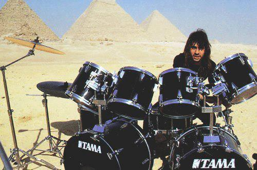 Dave Lombardo in Egypt for the Seasons In The Abyss video shoot