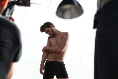 Jamie Dornan on set for Calvin Klein Underwear, 2009.