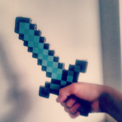 Cardboard Diamond Sword <3 #minecraft #sword #swag #diamond #diamonds #instawesome #picoftheday #handmade #cardboard #videogames #pixels