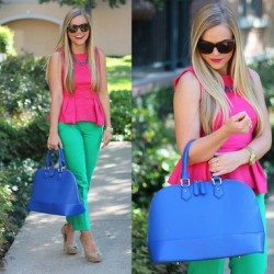 Blogger Living In Color Print does it better with our Madeline Dome Satchel in Blue. Find her here -> http://mimibtq.com/R1voHU  @ -> www.MimiBoutique.com *also available in rust, black, brown and cream #mimiboutique #fashion #streetstyle #ootd #chic #handbags #fashionblogger #fashionblog #blue #spring #summer #trends #springstyle #summerstyle