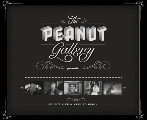 The Peanut Gallery Peanut Gallery is a Chrome Experiment that lets you add intertitles to old film clips using your voice, then share those clips with your friends. It uses your computer's microphone and the Web Speech API in Google Chrome to turn speech into text. www.peanutgalleryfilms.com