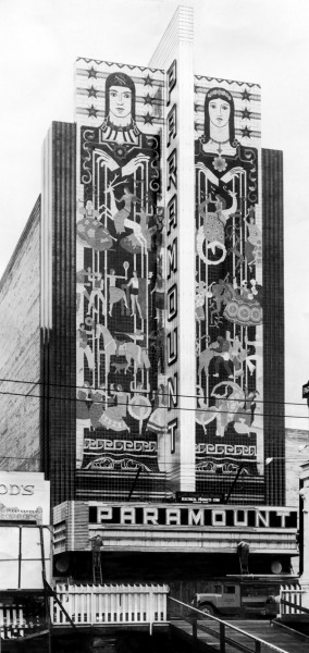 PARAMOUNT THEATRE  Workers install the neon marquee in 1931. (File Photo) A slideshow on the restoration of the theatre is now online: http://photos.mercurynews.com/2013/04/24/the-restoration-of-the-paramount-theatre-is-celebrated-at-the-art-deco-preservation-ball/ Want more? Read articles on our DocumentCloud    //