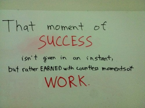 Success requires WORK!!! Get it done! :)