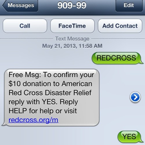 Do it people! Text REDCROSS to 90999 to donate to those that have been devastated by the tornados in Oklahoma. 🙏🙌 #Donate #Redcross