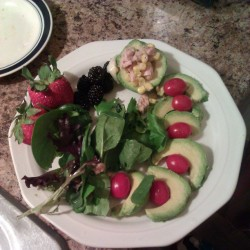 I can make a mean healthy meal. #avocados #tuna #blackberries #strawberries #grapestomatoes #spinach